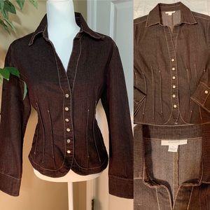 Dressbarn brown denim jacket size Large